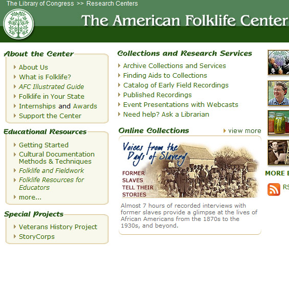 Web Archive - American Folklore Center